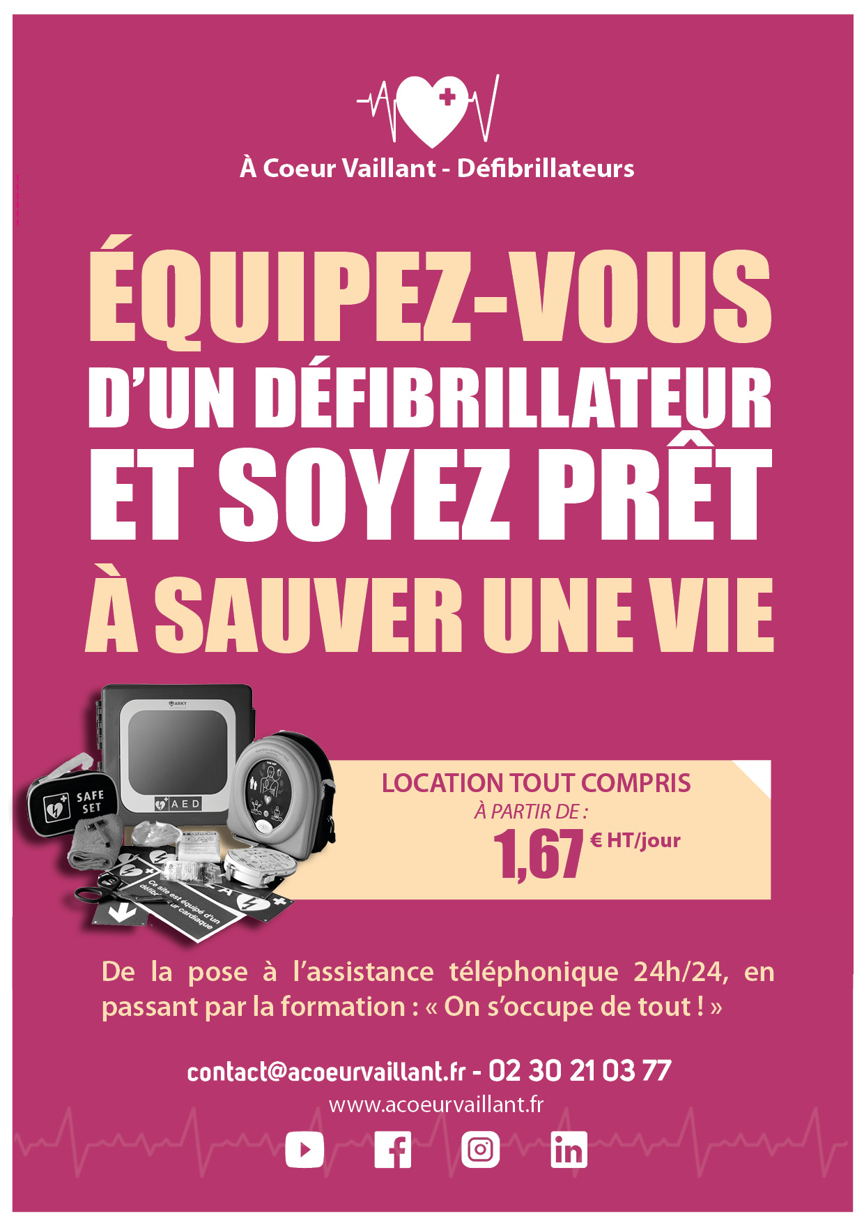 Location offre 1euro67 par jour A Coeur Vaillant défibrillateurs