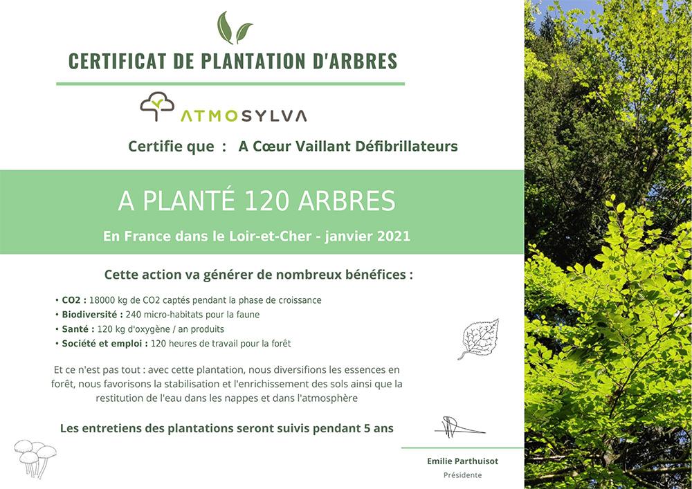 certificat 120 arbres plantés