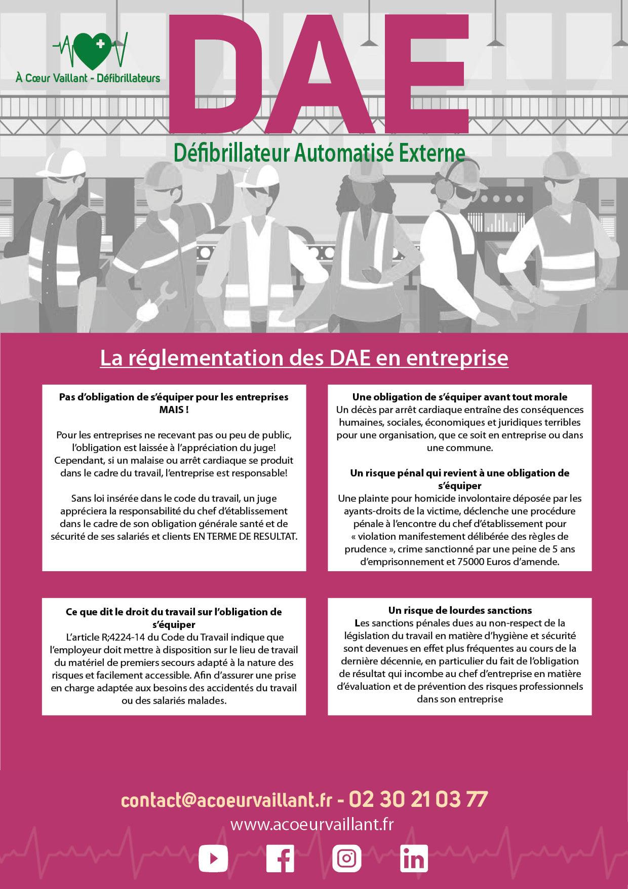 Défibrillateurs Entreprises et réglementation À Coeur Vaillant