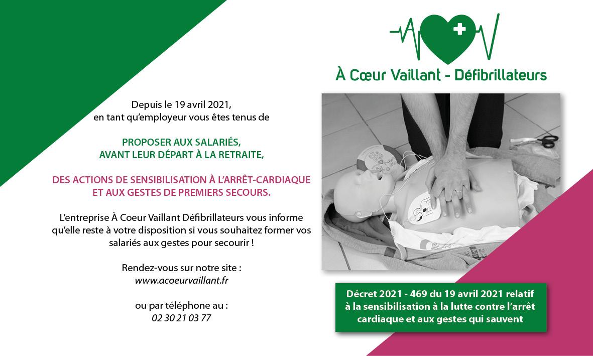 Décret 2021 - 469 du 19 avril 2021 relatif à la sensibilisation à la lutte contre l'arrêt cardiaque et aux gestes qui sauvent ACV